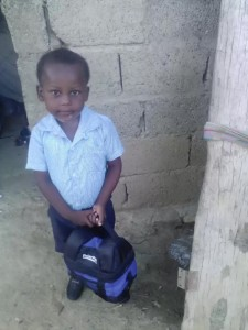 Enveson first day of school with uniform