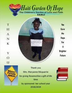 Maryanne sponsor school 2018 2019 Rosemerline